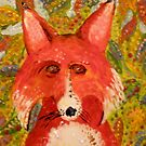 Mr. Fox Hiding In The Leaves by Kay Hale