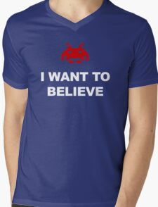 X-Invaders I want to Believe - Graphic Mens V-Neck T-Shirt