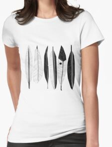 Black and White Feathers Print Womens Fitted T-Shirt