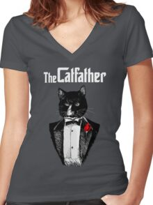 Catfather Women's Fitted V-Neck T-Shirt
