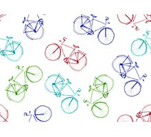 Bicycles doodle Photographic Print