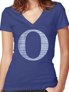 Letter O Blue Watercolor Stripes Monogram Initial Women's Fitted V-Neck T-Shirt