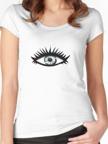 Black and White Transparent Eye Women's Fitted Scoop T-Shirt