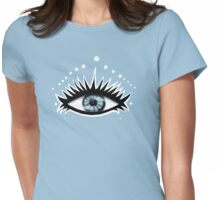 Black and White Transparent Eye Womens Fitted T-Shirt