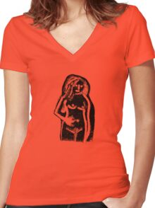 Girl monotype Women's Fitted V-Neck T-Shirt