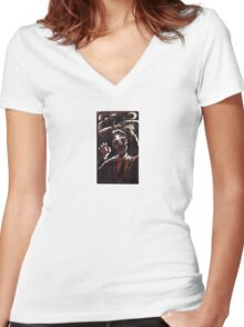 Zombie 2 color woodcut Women's Fitted V-Neck T-Shirt