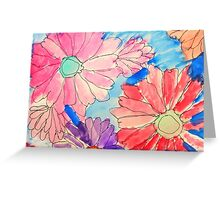 Rainbow Watercolor Flowers Greeting Card