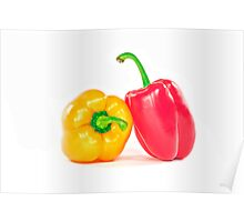 Red and yellow peppers. Poster