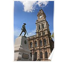 The old post office and war monument in Bendigo Poster