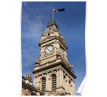 Clocktower of the old post office in Bendigo Poster