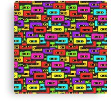 Colorful 80s analoge audio tapes Canvas Print