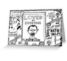 Loved by Everyone by Bashar Assad book cover cartoon Greeting Card