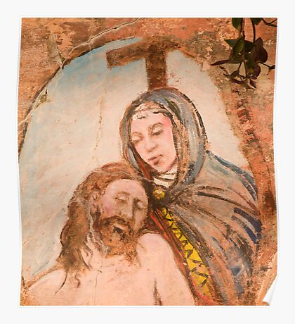 Religious painting on wall in Monterosso al Mar Poster