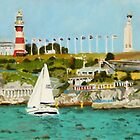 Plymouth Sound and Lighthouse by BenSimsArt