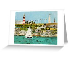 Plymouth Sound and Lighthouse Greeting Card
