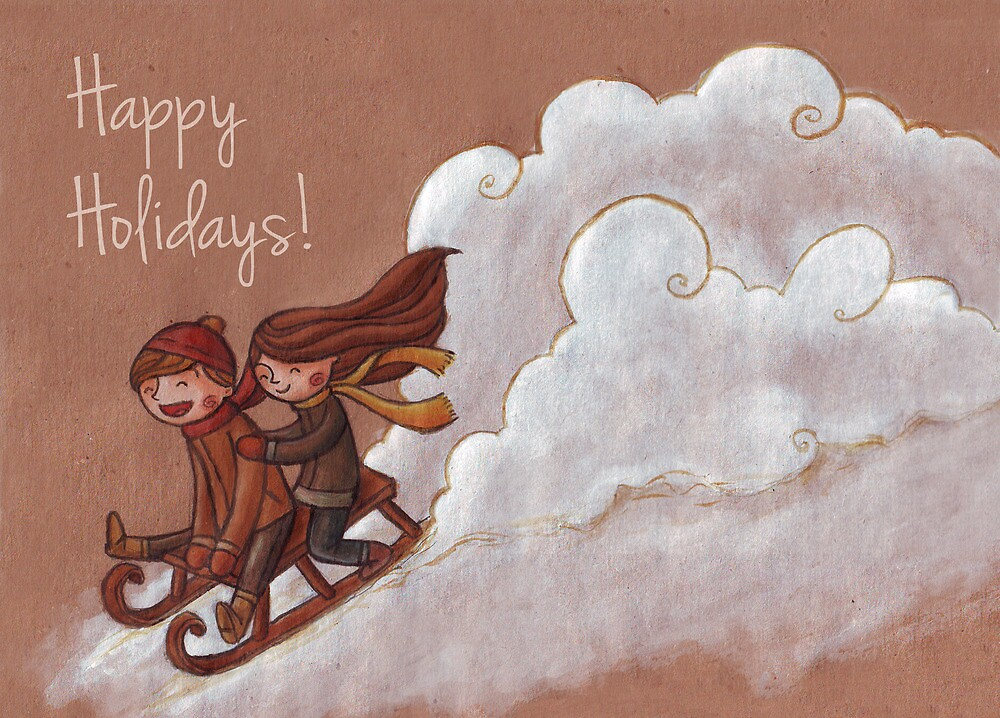 Sledding through the snow by Ine Spee