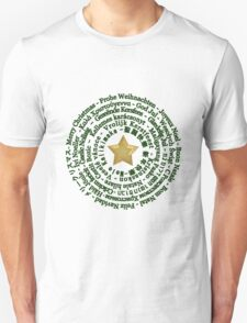 Merry Christmas in Different Languages - Green design T-Shirt