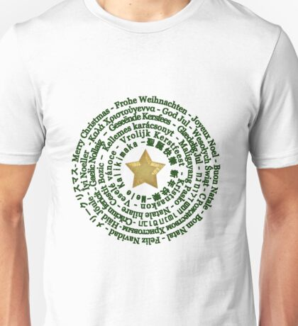Merry Christmas in Different Languages - Green design Unisex T-Shirt