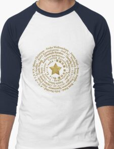 Merry Christmas in Different Languages - Gold design Men's Baseball ¾ T-Shirt