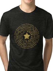 Merry Christmas in Different Languages - Gold design Tri-blend T-Shirt