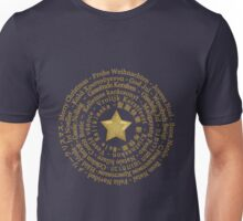 Merry Christmas in Different Languages - Gold design Unisex T-Shirt