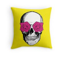 Skull & Roses | Yellow & Pink Throw Pillow