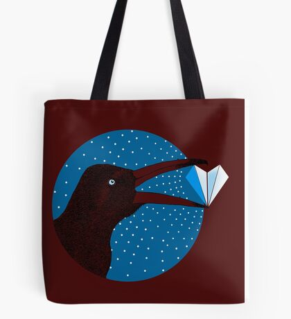 Magpie's Winter Heart Tote Bag