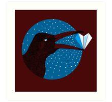 Magpie's Winter Heart Art Print