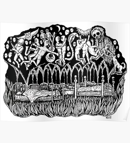 Dreams surreal black and white pen ink drawing Poster