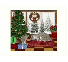 Cat and Kittens .. December Cats Art Print