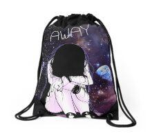 Anime Sad girl gone away on the Moon Drawstring Bag