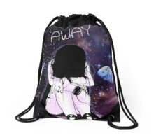 Anime Sad girl gone away on the Moon Drawstring Bag
