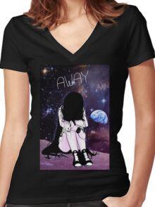Anime Sad girl gone away on the Moon Women's Fitted V-Neck T-Shirt