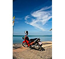 Red Moped at Seaside Photographic Print
