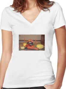 Fall Harvest Display Women's Fitted V-Neck T-Shirt