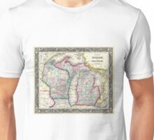Vintage Map of Michigan and Wisconsin (1860) Unisex T-Shirt