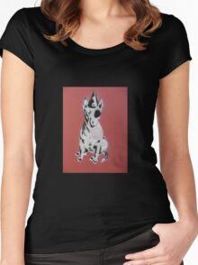 Red Graffiti English Bull Terrier Women's Fitted Scoop T-Shirt