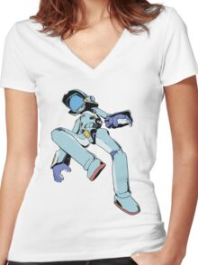 Canti - Flats (Blue) Women's Fitted V-Neck T-Shirt