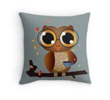 Owl drinking coffee Throw Pillow