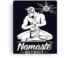 Namaste Detroit Black and White Canvas Print