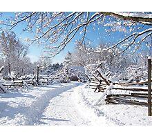 Snowy farm lane Photographic Print