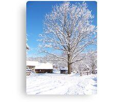 Winter log cabin Canvas Print