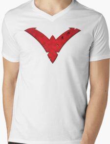 Nightwing Damaged (Red) Mens V-Neck T-Shirt