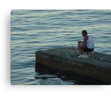The Lone Fisherman Of Cap Ferrat Canvas Print
