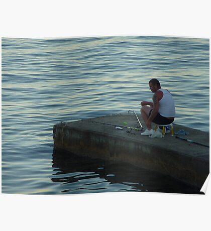 The Lone Fisherman Of Cap Ferrat Poster