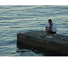 The Lone Fisherman Of Cap Ferrat Photographic Print