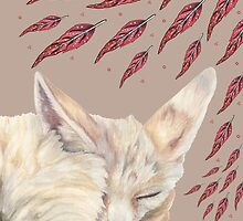 Fennec Fox Feather Dreams in Taupe by christinemay