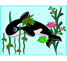 Orca Whale Celebrates Christmas with Fish Friends Photographic Print