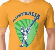 cricket player batsman batting Australia retro Unisex T-Shirt