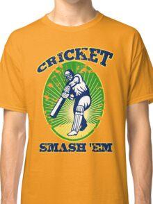 cricket player batsman batting smash 'em retro Classic T-Shirt